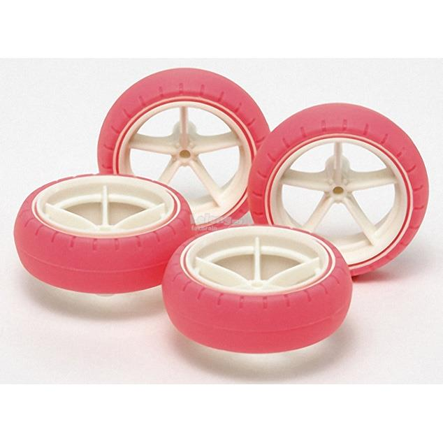 94767 Large Diameter Narrow Fiber Glass Wheels & Arched Tires (Pink)