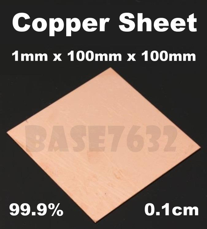 99.9%  Pure Copper Sheet Plate Welding Thick 0.1cm 1mm 1*100*100mm