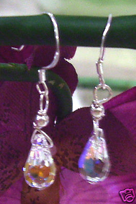 9Sterling Silver Swarovski Earrings Teardrop Crystal AB Colour Choices