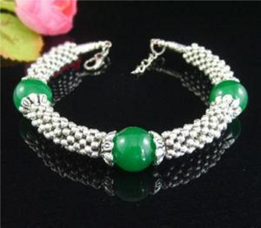 ABBSB-G005 New Beautiful Green COLOR Beads Silver Metal Bracelet.