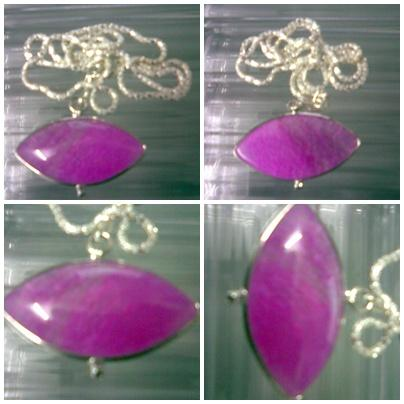 ABPJ-P012 Pink Purple Dragon Veins Agate Pendant Silver Necklace