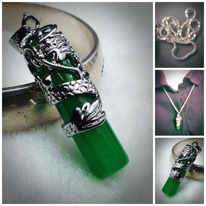 ABPSM-D038 Natural Jade Carved Inlaid Silver Metal Dragon Pendant Neck..