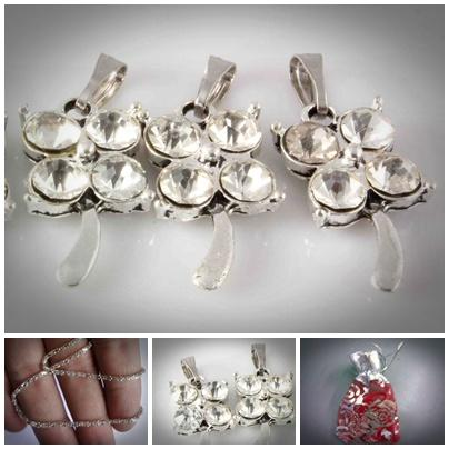 ABPSM-L003 Silver Plated Lucky grass Inlay Crystal Beads Fit Necklace