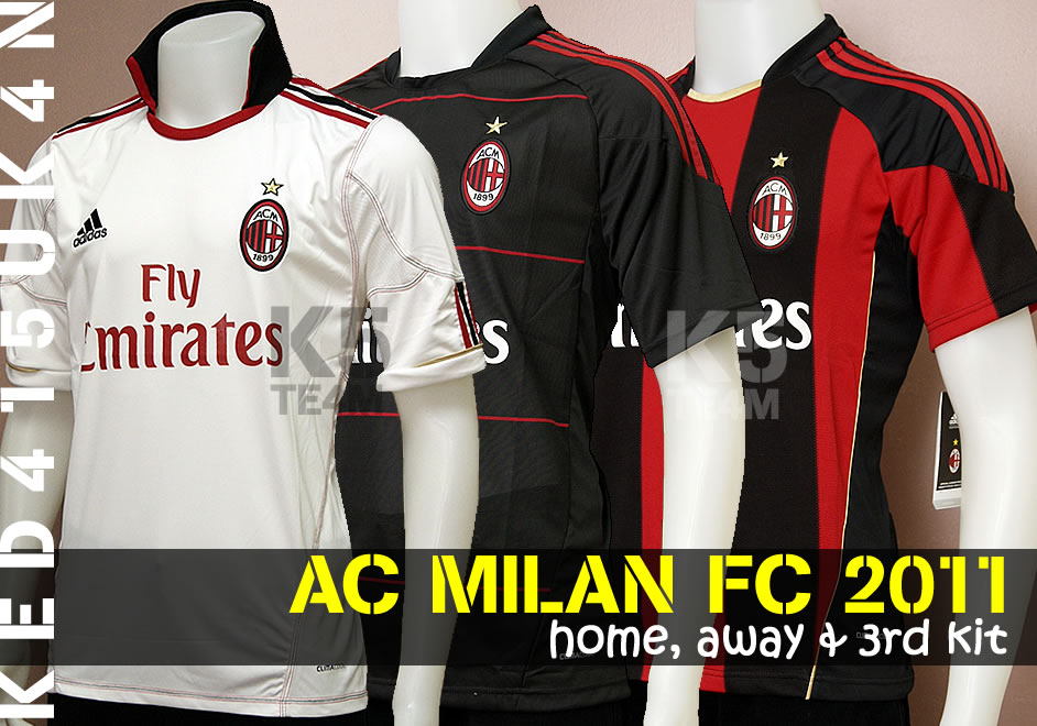 lowest price 3f6b9 00399 Worldwide Sports Soccer Jersey: Ac Milan FC 2011 Home, Away ...