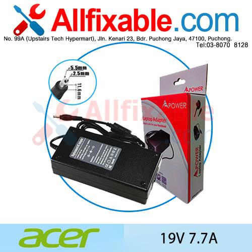 Acer 19V 7.7A TravelMate 2500 2600 2700 3000 Adapter Charger