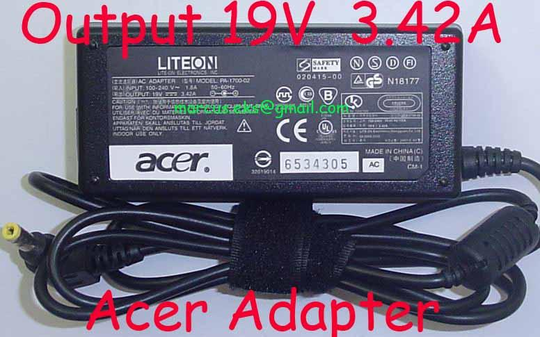 Acer LITEON PA-1650-02 PA-1700-02 19V 3.42A 65W AC Adapter