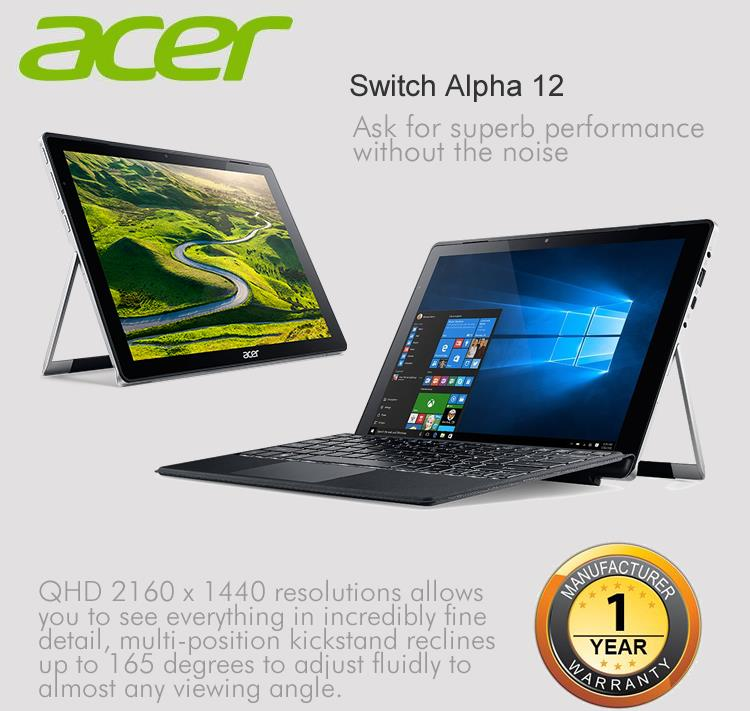 Acer Switch Alpha 12 SA5-271-300K (i3-6100) Notebook-Metallic