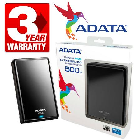 ADATA DashDrive HV620 Portable External Hard Drive 500GB USB 3.0