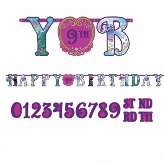 Add An Age Frozen Happy Birthday Jumbo Letter Banner 10 1/2ft