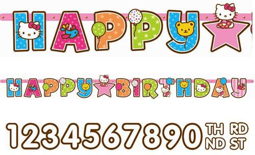Add An Age Hello Kitty Happy Birthday Jumbo Letter Banner 10ft