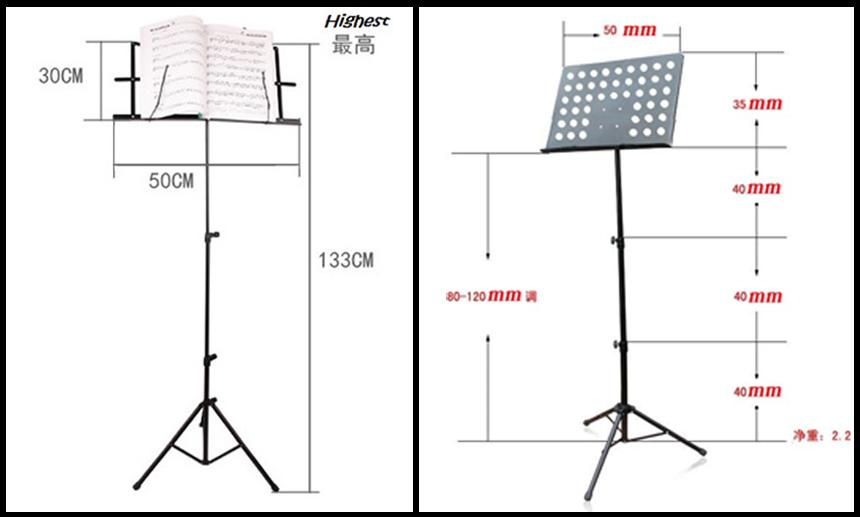 Adjustable fold able extra thick Music Score Sheet Stand Holder Tripod