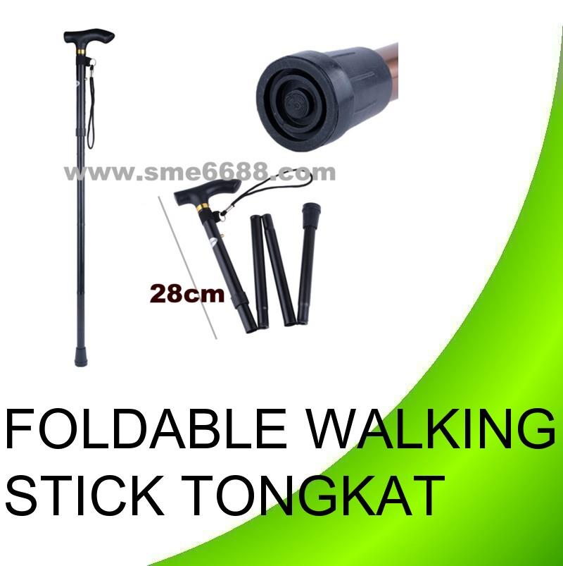 Adjustable Foldable Aluminium cane Walking Stick Pole Tongkat lipat