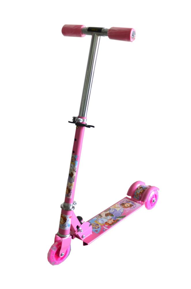 Adjustable Foldable Children Kids Scooter Bicycle- Pink Princess Sofia