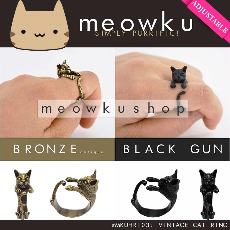 Adjustable Vintage Cat Ring (Girl Woman Jewellery Gift Kucing Cincin)