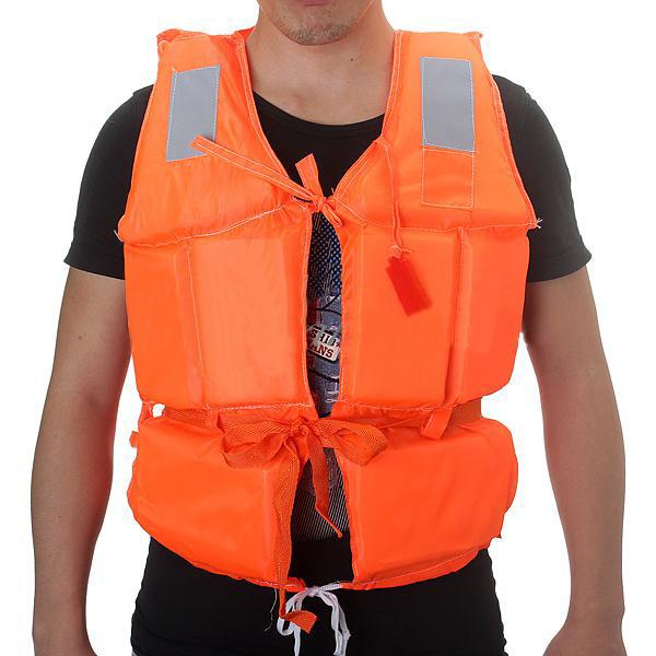 NEW Adult Foam Boat Swimming Life Jacket Vest + Whistle