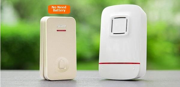 Advent Wireless Doorbell w Waterproof & No Battery Needed