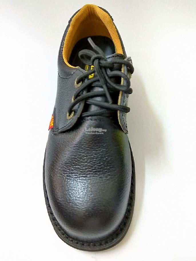 AIM LEATHER SAFETY SHOES #A194 BLACK SIZE 10
