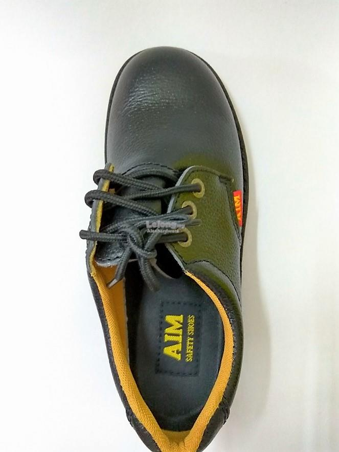 AIM LEATHER SAFETY SHOES #A194 BLACK, SIZE 5 *STOCK CLEARANCE