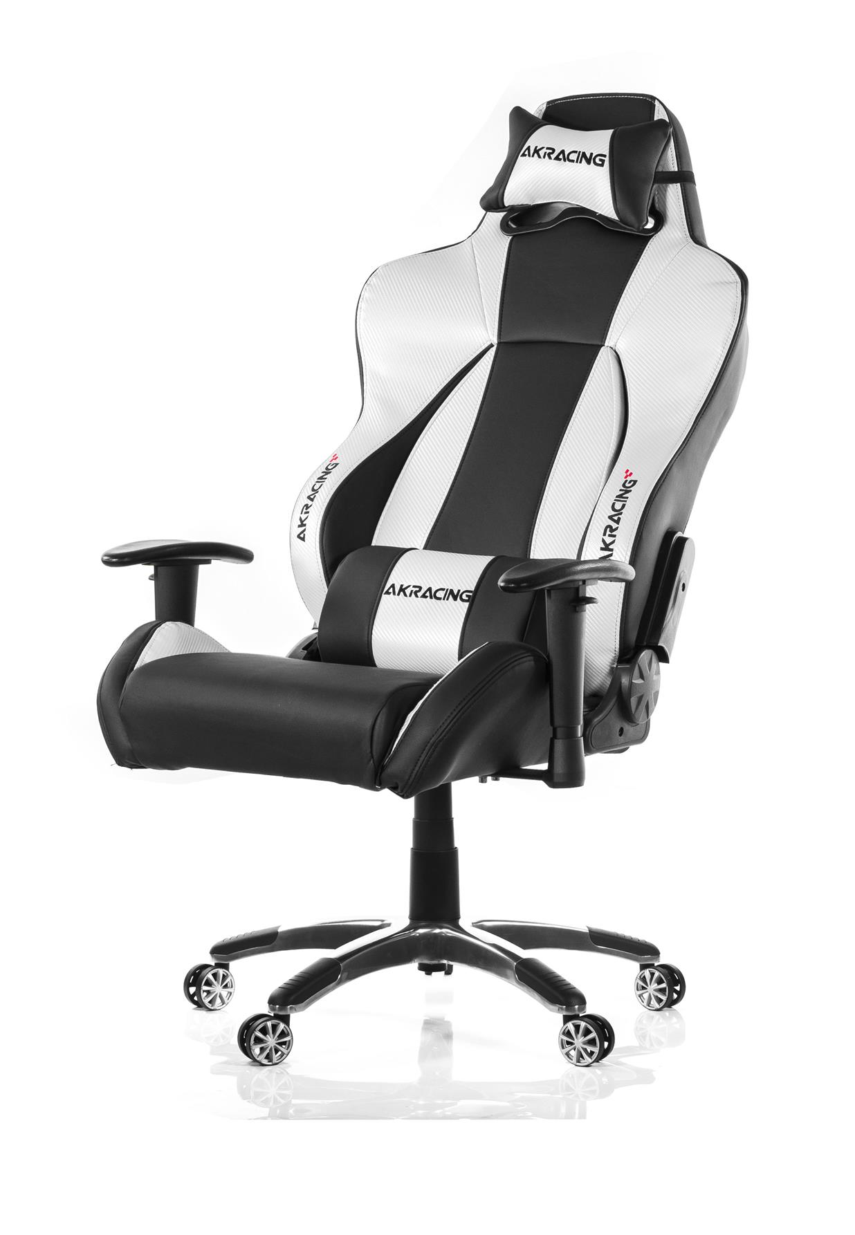AKRACING PREMIUM STYLE GAMING CHAIR BLACK SILVER V2 PU LEATHER INSTOCK