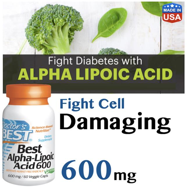 ALA Alpha Lipoic Acid 600mg 60Vaps, Antioxidant, Skin, Eye Health