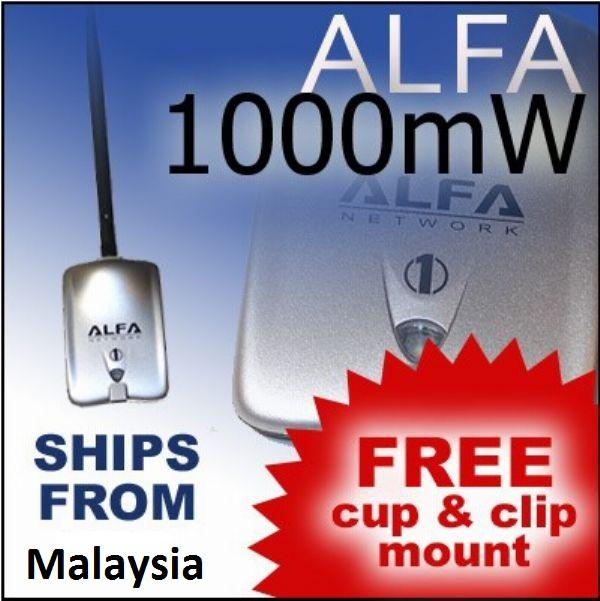 Alfa AWUS036H 1000mW Usb Wifi  + Y Cable + Mount + Clip  100% Original..