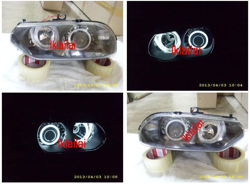 Alfa Romeo 156 Crystal Projector Head Lamp Dual CCFL Ring Black H