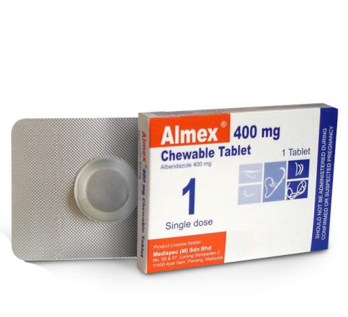 Almex 400mg Deworming Tablet ( 2 x 1 Chewable Tablet)