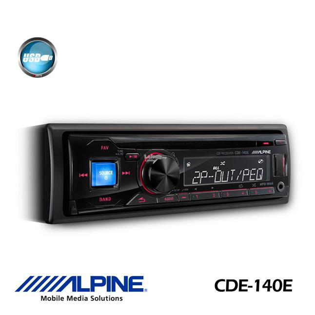 Alpine CDE-140E Single DIN CD USB Aux Car Stereo Receiver
