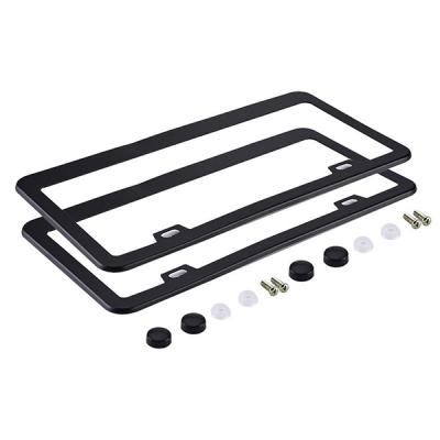Aluminum License Plate Frame with Matching Screws Caps Black