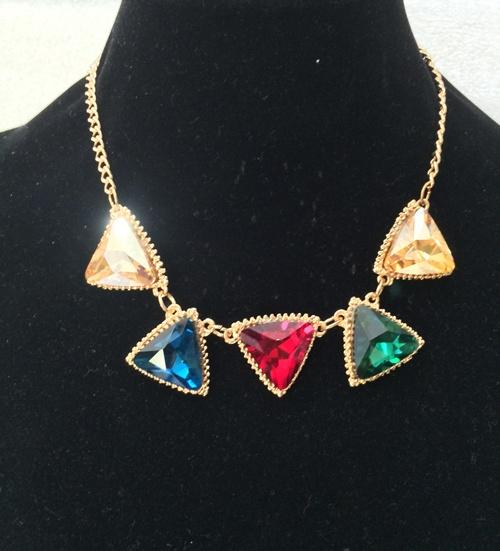 Amber Multi Colour Faux Gemstone Necklace (Free Shipping)