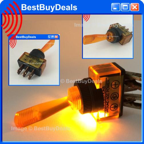 AMBER YELLOW Led Car Boat Truck SHAFT Toggle Switch 12V Aircraft Style