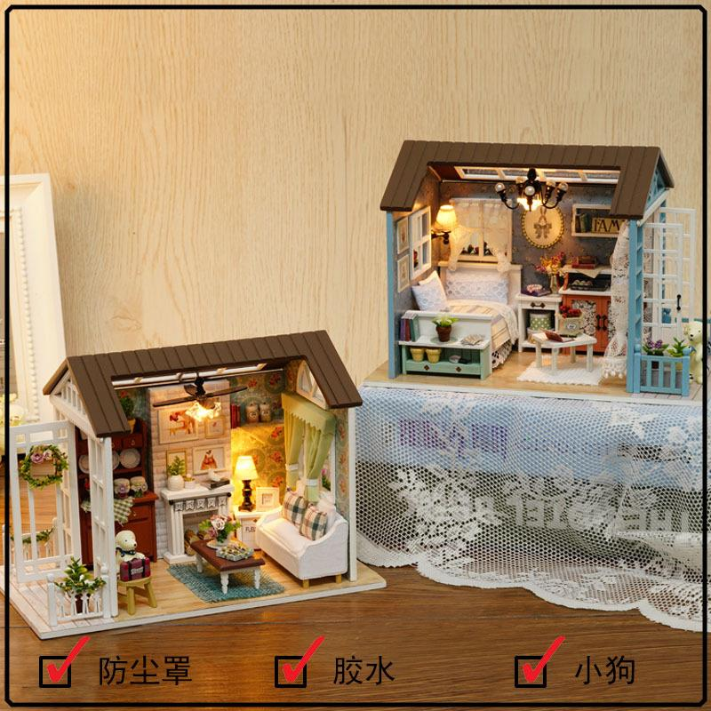 American Retro Style with Light/Anti-dust cover DIY Miniature Doll Hou
