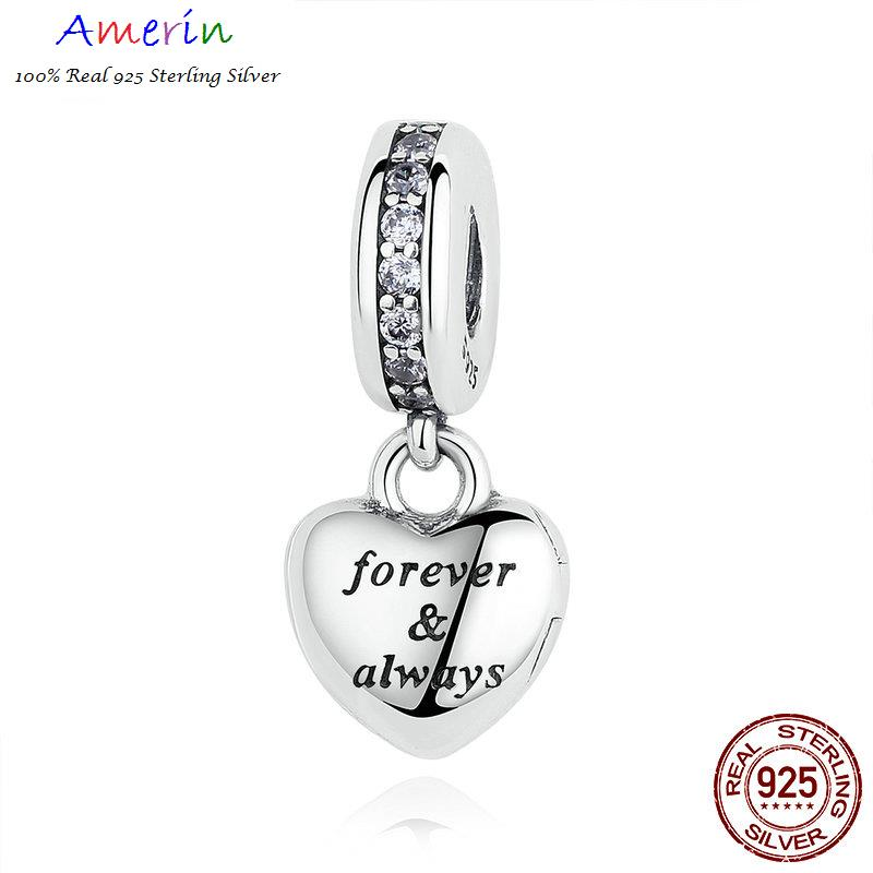 AMERIN 100% Real 925 Sterling Silver Clear CZ Beads Charms Bracelet