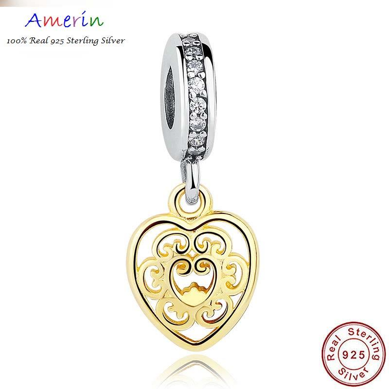 AMERIN 100% Real 925 Sterling Silver Gold Plated Bracelet DIY Sterling
