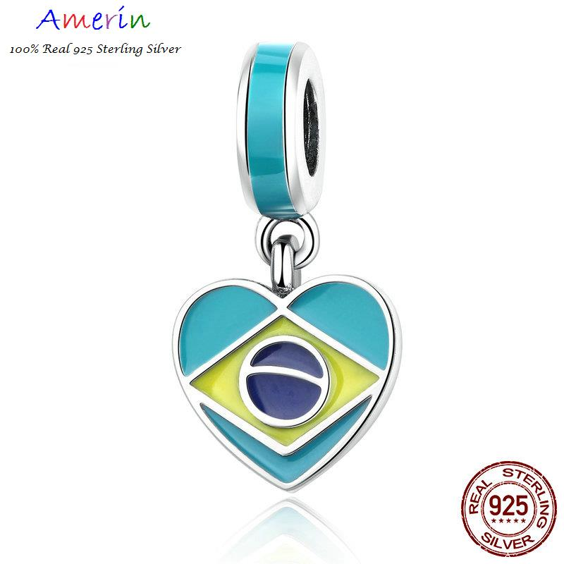 AMERIN 100% Real 925 Sterling Silver Heart Flag,Mixed Enamels Bracelet