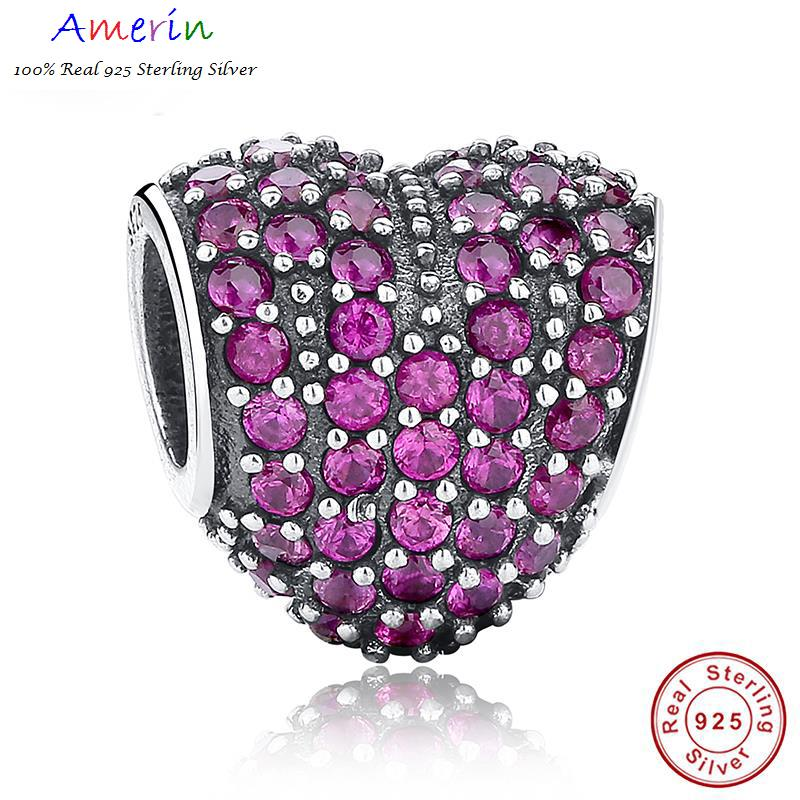 AMERIN 100% Real 925 Sterling Silver LOVE Heart Shape Charm Bracelet
