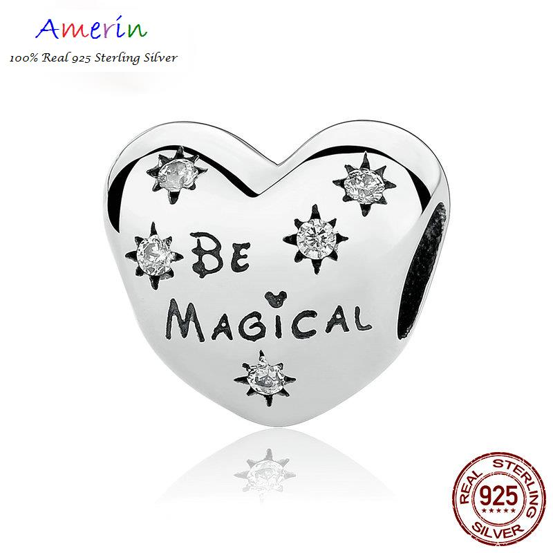 AMERIN 100% Real 925 Sterling Silver Be Magical Heart Beads Bracelets