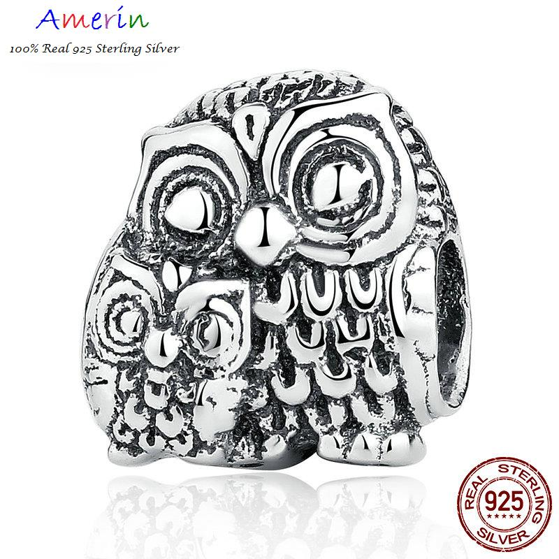 AMERIN 100% Real 925 Sterling Silver Owls Animal Screw Necklaces