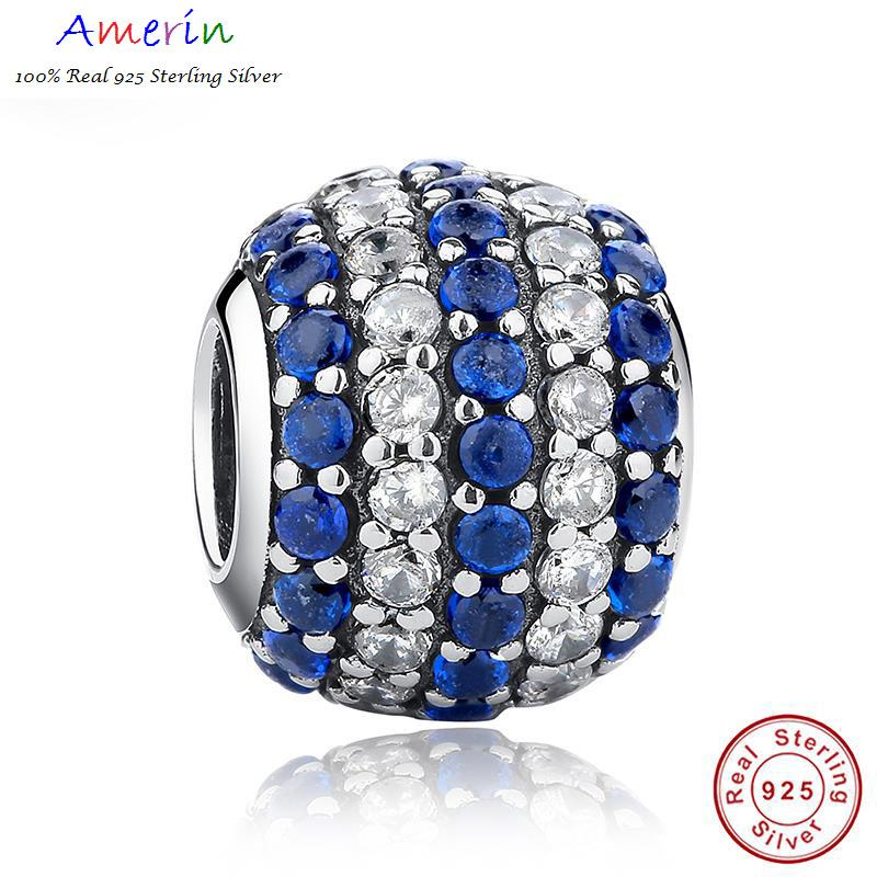 AMERIN 100% Real 925 Sterling Silver Pave Lights, Blue Clear Bracelet