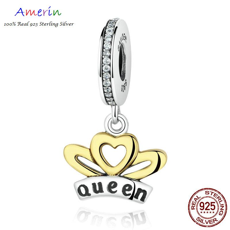 AMERIN 100% Real 925 Sterling Silver Queen Heart Wings Pendants