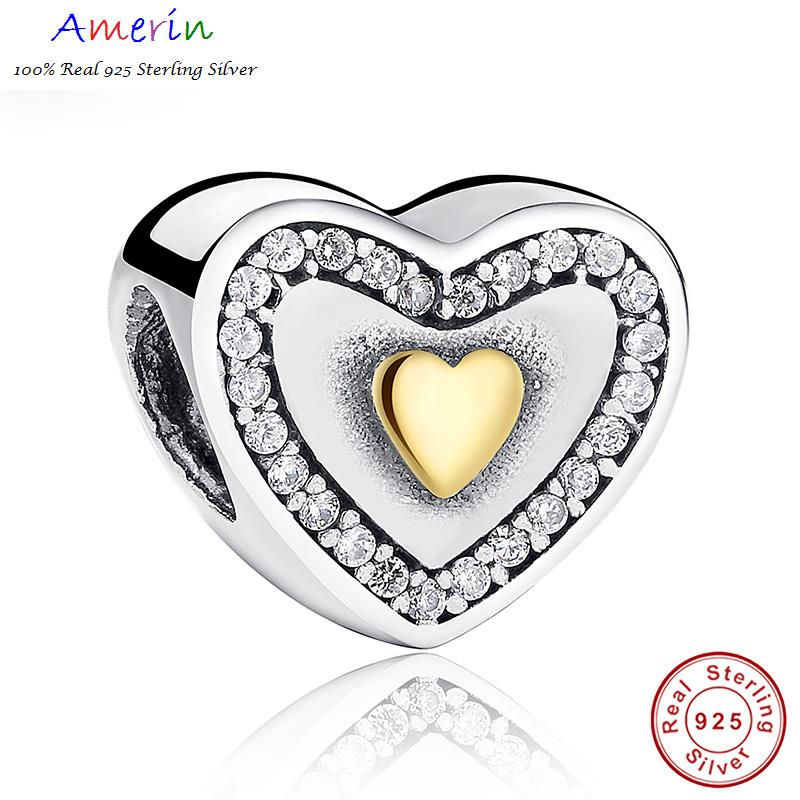 AMERIN 100% Real 925 Sterling Silver Yellow Gold Plated Bracelet