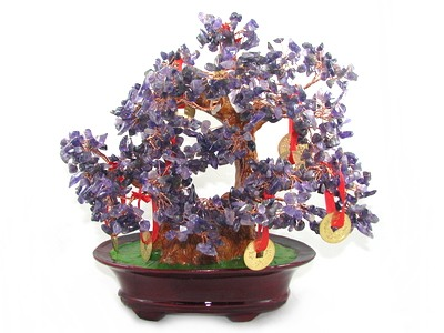 Amethyst Crystal Bonsai Tree with 9 Coins - Feng Shui Gem Tree