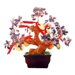 Amethyst Tree with 8 Gold Coins for Relaxing