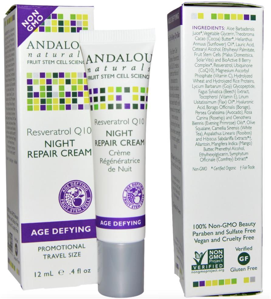 Andalou, Night Repair Cream, Resveratrol Q10, Age Defying (USA)
