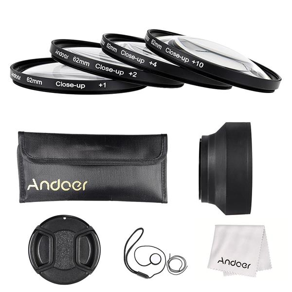 Andoer 62mm Close-up Macro Lens Filter Set(+ 1 +2 +4 +10) with Lens