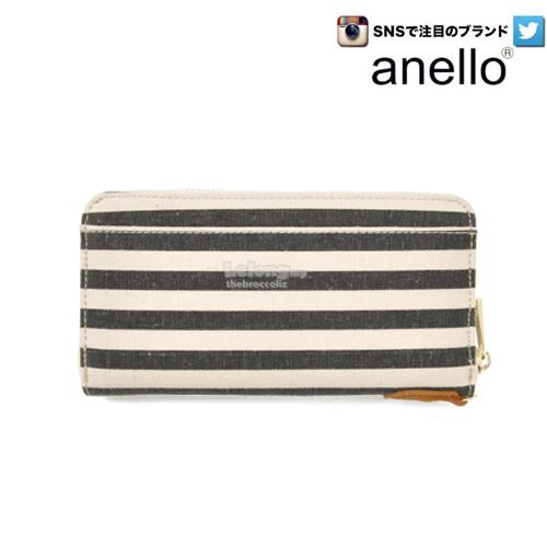 [Anello] Denim Ladies Fashion Long Purse / Wallet - Black Stripe