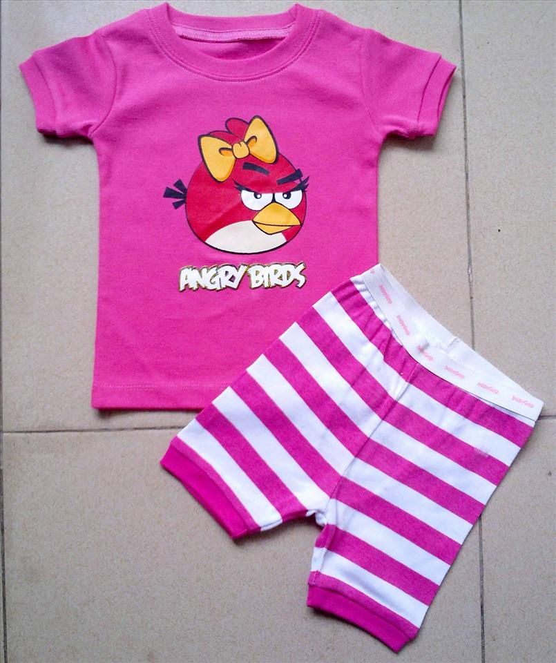 NEW ANGRY BIRD PINK 2PC PYJAMAS  3-6,12-18M