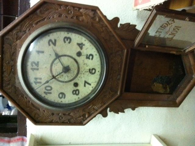 Antique Octagon Clock with Carvings