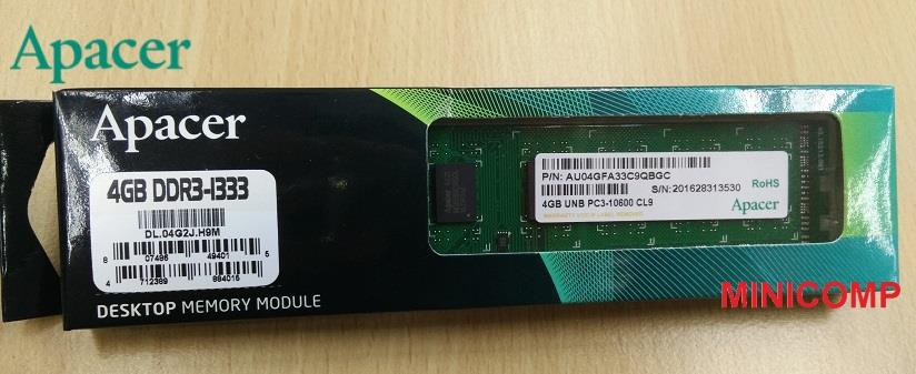 Apacer 4GB DDR3 1333 Mhz PC3-103600 16 Chip