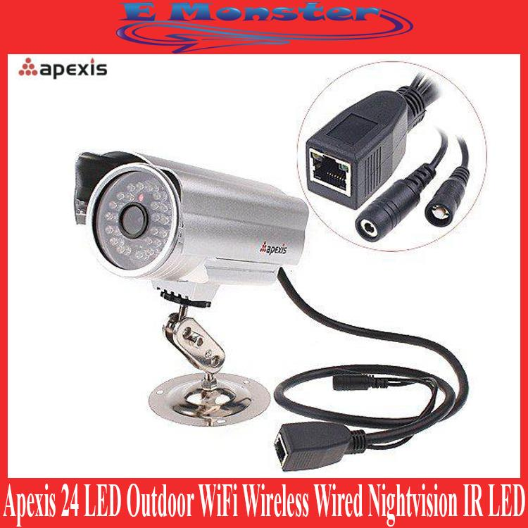 Apexis 24 LED Outdoor WiFi Wireless Wired Nightvision CCTV IP Camera